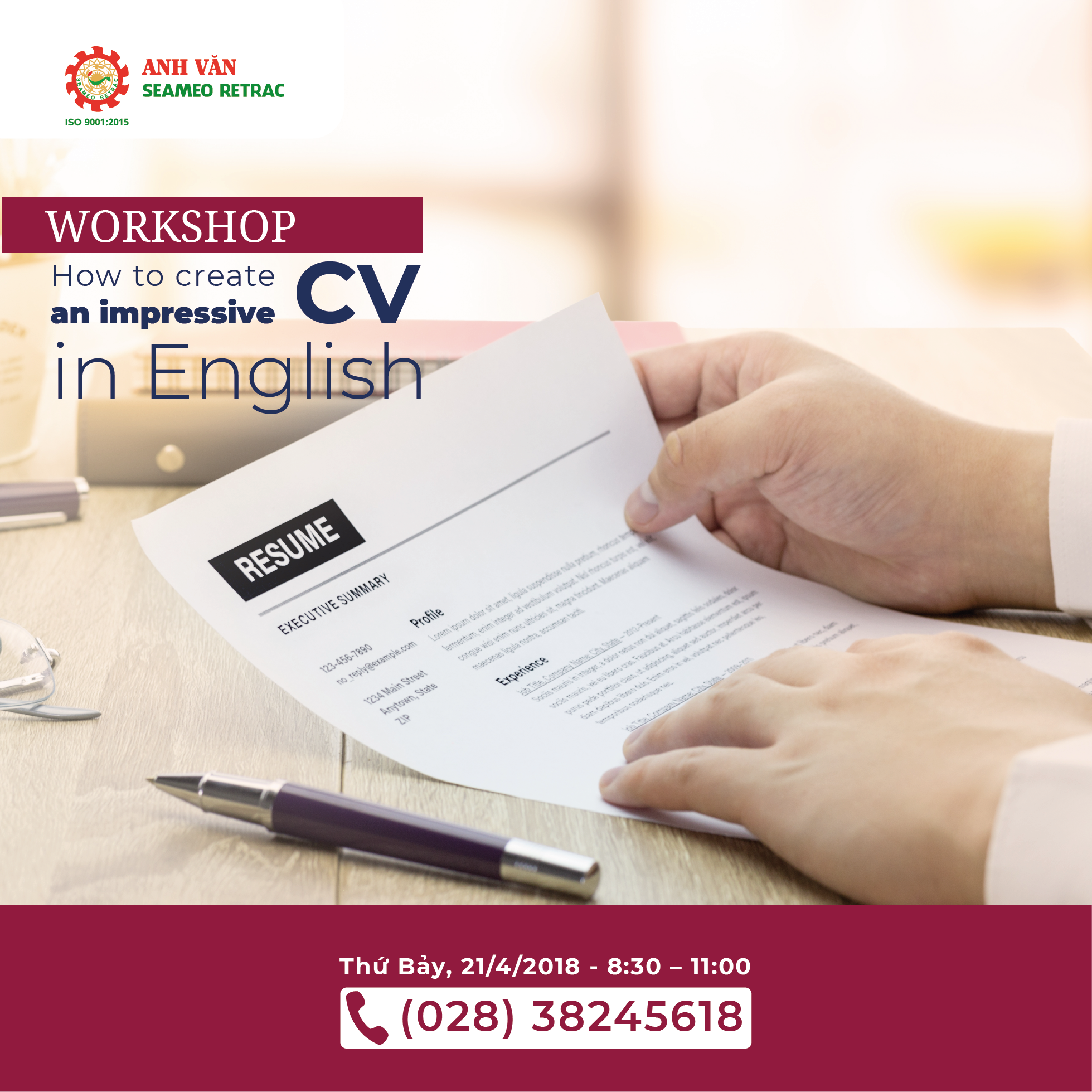 WORKSHOP – How to create an impressive CV in ENGLISH
